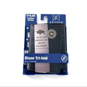 George Men's Bison Leather Trifold Wallet BLK